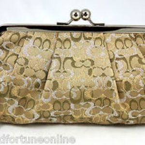 Coach Gold Framed Kiss lock Evening Bag Wristlet